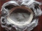 Grey Hair PU Coated Human Hair Toupee Custom Toupee