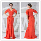 Real photo custom size new design cap sleeve sweep train chiffon evening dress