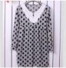 Charming Flower Embellished Collar Dotted Dress Grey QM12092719-2