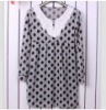 Charming Flower Embellished Collar Dotted Dress Grey QM12092719-2