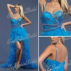 Spaghetti strap with beaded A-line Anke length ruffle waist Net/Tull short front long back prom dresses made in china 2013 dress