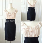 Real Picture Ruffle Chiffon Bodice Scoop Neckline Black Sheath Skirt Real Bridesmaids Dress Black and Pink