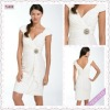 3331-1hs Beautiful New Design Simple Cap-sleeve Knee-Length V-Neck White taffeta with beaded open side evening dresses
