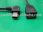 Mini 5pin Male Left angled TO Female Cable,Mini 5pin extension cable