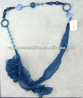 Flower chiffon necklace with pearl beads