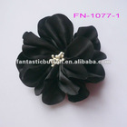 nice black satin flower garment trimmings (FN-1077)