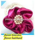 Wholesale hand wedding satil silk hair flower flower bead bracelet
