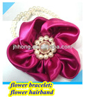 Wholesale hand wedding satil silk hair flower flower bead bracelet
