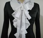 Fashion black long sleeve falbala blouse for ladies2012