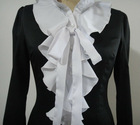 Fashion black long sleeve falbala blouse for ladies2012