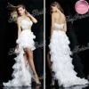 Sweetheart A-line Anke length Layere natural waist with beaded Chiffon high low hem short front long back prom dresses 2012
