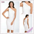 3330-1hs Beautiful New Design Simple One-shoulder Knee-Length White taffeta 2012 fashion dress for evening