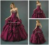 Dark Red Taffeta Appliqued Evening Party Prom Dress