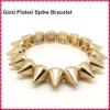 2012 Hot Sale Gold Plated Hedgehog Style Punk Rivet Bracelet, Fashion Stretch Adjustable Spike Bracelet
