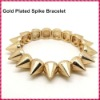 2012 Hot Sale Gold Plated Hedgehog Style Punk Rivet Bracelet, Fashion Stretch Adjustable Spike Bracelet