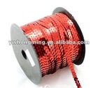 2012 Newest Christmas omament accessories sequin string,red spangle sequin trimming roll wholesale 7mm