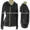 Women's Zipper Long Sleeve Hood Asymmetrical Closing Sweater