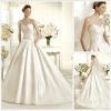 Elegant Sweetheart Neck-line A-Line Chapel Train satin Wedding Gown HS1253