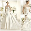 Elegant Sweetheart Neck-line A-Line Chapel Train satin Wedding Gown HS1253