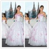 Designer Strapless Prom Gown ball-gown Chapel Train Chiffon Taffeta Embroidery Western Quinceanera Dresses