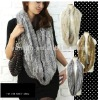 YR-012 Genuine rabbit hand knitted rabbit fur snood scarf