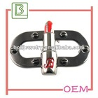 Black handbag metal tags and label with lipstick shaped bag accessories
