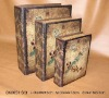 leather antique book box (set of 3)