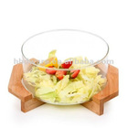Glass round salad bowl with bamboo stand