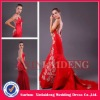 PMD220 graceful satin applique long train open back red prom dresses