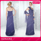 AZ0573 One shoulder Handmade Flower Free Shawl Floor length Chiffon dresses for brides mother