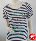 Ladies popular style yarn dye t-shirt