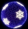 3D LED ball motif lights with snowflakes or stars and garlands