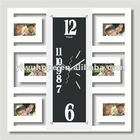 White Wall Hanging Photo Frame With Long Square Quarz Clock Insert