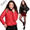 Short style collarless pu jacket 98666