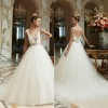 Noble Applique V Neck Tulle Ball Gown Long Train Wedding Dress Bridal Gown