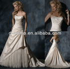 WD-795 Beautiful overlapping ruched bodice soft a line skirt suzhou wedding dress with tulle skirt