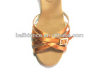 Tan color satin face girls ballroom latin dance shoes (D006091)