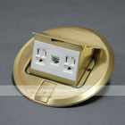 Pop Up Round Brass Type Floor box with American Receptacle & RJ45