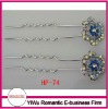 hot sale rhinestone hair pins with small flower