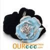 2012 Fashion Big flower hair scrunchies - blue