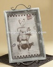 Vintage wooden tray with lifelike animal image