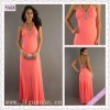 2148-1hs Elegant Halter Beading Appliqued Orange Chiffon Open Back Floor Length imitation designer prom dresses