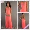 2148-1hs Elegant Halter Beading Appliqued Orange Chiffon Open Back Floor Length imitation designer prom dresses