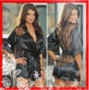 Women Fashion and Sexy Satin Lace Ladies Lingerie Sleepwear Nightdress Robe J