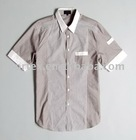 Splice fabric short sleeve shirt Slim Fit style