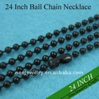 24 Inch 2.4mm Dark Black Brass Ball Chain Necklaces Great for Black Pendants