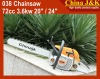 "038 chainsaw 72cc 3.6KW 20""Guide Bar"