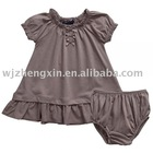 babys brown cotton spandex dress and knickers