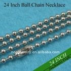 24 Inch 2.4mm Nickel Brass Ball Chain Necklaces Great for Blank Pendants and Glass Pendants