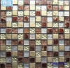 Silver-leaf Crystal Glass Mix Stone Mosaic Tile ST101